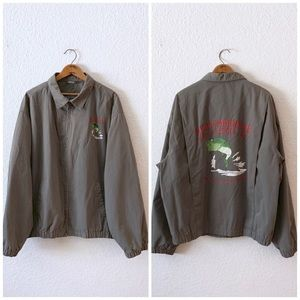80s Green Fishing Tackle Store Bomber Jacket Mens